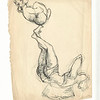 Two Acrobats.  Signed L M:  Chaim Gross '34, and with his cipher.  Blue ink on paper.  9 3/4 x 7 1/2 in. (24.5 x 19.2 cm.)