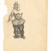 Standing female in circus costume.  Pencil on paper.  Unsigned.  9 3/4 x 7 1/2 in. (24.6 x 19 cm.) 1930s.
