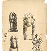 Studies of three heads and an acrobat.  Black ink and wash on paper.  Signed LM:  Chaim Gross, and with his cipher.  9 15/16 x 7 3/4 in. (25.3 x 19.5 cm.) 1930s.