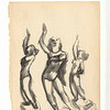Three Standing Women.  Black ink and wash on paper.  Unsigned.   9 11/16 x 7 1/2 in.  (24.5 x 19 cm.)  1930s.