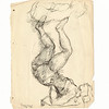 Two Acrobats.  Black in on paper.  Signed LL in black ink:  Chaim Gross '34, and with his cipher.  9 11/16 x 7 1/2 in. (24.5 x 19 cm.)