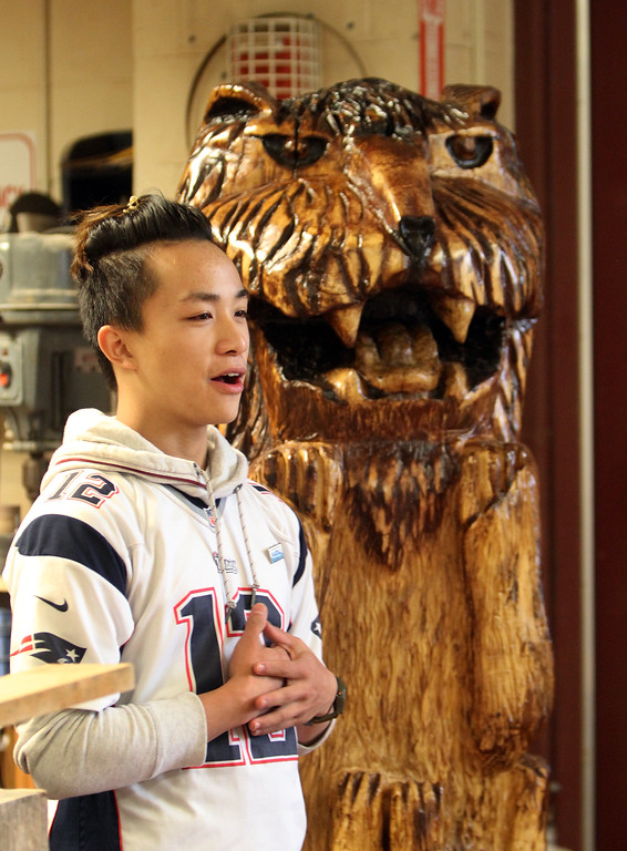 . Chelmsford High senior Felix Huang, 18, with the carving of a lion and five cubs he did from a section of the purple beech that had to be cut down on Chelmsford Town Common in 2013. (SUN/Julia Malakie)