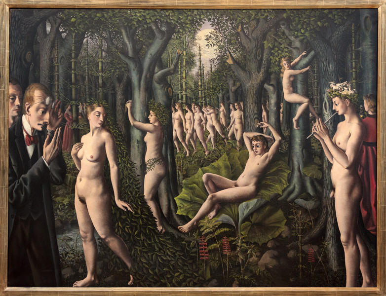 "Paul Delvaux, The Awakening of the Forest, 1939 (inspired by Jules Verne hourney to the centre of the earth)Identified with the Belgian Surrealist movement, although never an official member, Paul Delvaux was influenced by his contemporary René Magritte, as well as by the Italian Metaphysical and proto-Surrealist painter Giorgio de Chirico. Like Magritte, Delvaux relied on the provocative and incongruous juxtapositioning of precisely rendered objects, persons, or situations to create imaginative dreamscapes. From de Chirico he adopted the use of dramatic settings characterized by receding diagonals and classical architecture. With a sense of theater, he evokes a classical world that, in fact, never existed. Here, the architectural elements are reminiscent of Greek temples—like those on the Acropolis—and secular Roman architecture, but do not represent any known buildings. In assimilating a variety of images, Delvaux's goal was to produce ""poetic shock"" by ""putting heterogeneous but real things together in an unexpected way."" Yet, despite these strong Surrealist associations, Delvaux saw himself as following in the realist tradition of older Flemish artists like Jan van Eyck and Hans Memling.<br /> Unique to Delvaux's compositions are the somnambulant women that recur obsessively in his work. Unabashedly unselfconscious in their dishabille (which enhances their erotic presence), they are formidable, even threatening, in their quiet seduction."