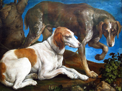 Jacobo Bassano. Two Hunting Dogs Tied to a Leash.
