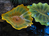 Floating 'lilies' (my name for this flower-like form).  Chihuly calls them 'Persians'.<br /> <br /> Dale Chihuly, artist.<br /> <br /> Conservatory, Frederik Meijer Gardens and Sculpture Park,<br /> Grand Rapids, Michigan.<br /> October 7, 2010.