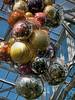 Bottom of cluster of balls.<br /> <br /> Dale Chihuly, artist.<br /> <br /> Conservatory, Frederik Meijer Gardens and Sculpture Park,<br /> Grand Rapids, Michigan.<br /> October 7, 2010.