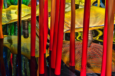 "Chihuly, reflections of the Mille Fiori – Italian meaning ""a thousand flowers"" Inside the Mille Fiori at Chihuly Gardens and Glass, Seattle, WA.  I love red!  Thinking of enlarging this for my home."