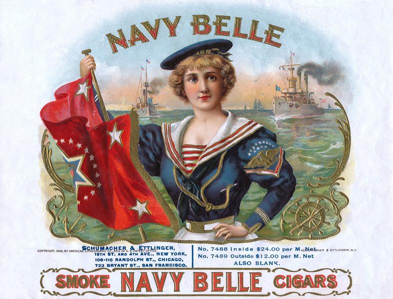 Navy Belle cigar label sample by Schumacher & Elllinger.  Rare.
