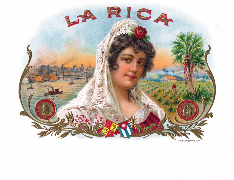 La RIca cigar label by American Lithographic.  Rare.
