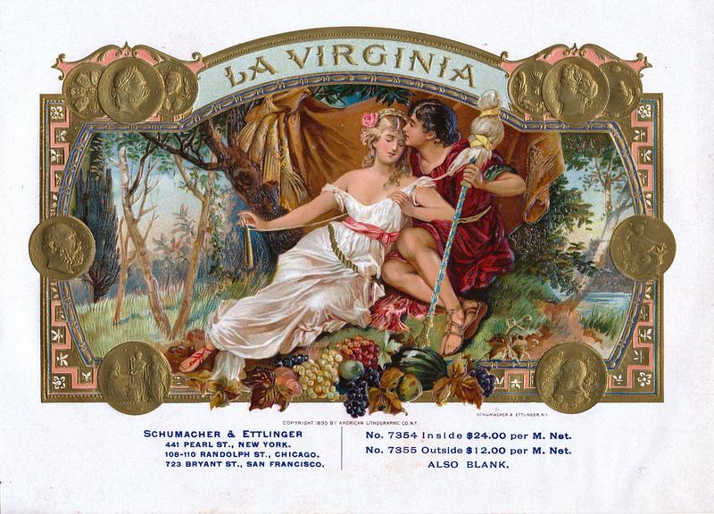La Virginia cigar label sample by Schumacher & Ettlinger. Rare. See also Loves Captive by Schlegel.