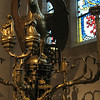 in the Boppard Room - a brass lecturn in the form of an eagle.  South Netherlandish, Maasticht, c. 1500.  Behind is a portion of stained glass from 15th century Carmelite convent - it dominated the entire width of the room