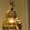 in the Boppard Room - the top of a gilded silver ewer (one of a pair) - Franconia, Germany, c. 1500; the wild man at the top of the ewer was painted and enameled and represented a heraldic supporter; it is also a symbol of fertility and procreation