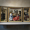 one of the most celebrated early Netherlandish paintings in the world - the Merode Altarpiece, painted in 1425-30.  The altarpiece, intended for private prayers by the owners (pictured far left in tripytch), represents the Annunciation to the Virgin Mary (center) taking place in a 15th century household (images on far right).