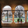 looking out from the Late Gothic Hall to the central Cuxa Cloister and garden