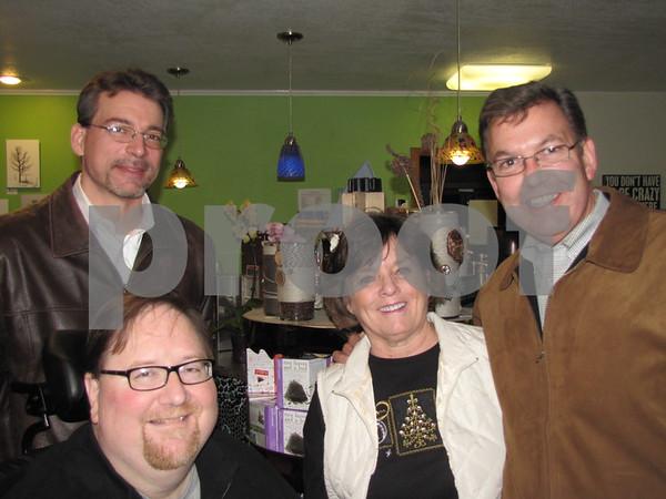 Brett Lauinger, Bob Wood, Ann Kersten, and Matt Maggio at Central Perk's open house for Wood's photo exhibit.