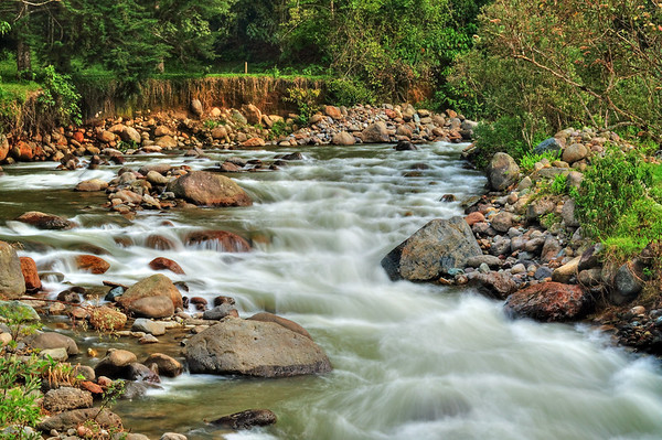 River in the valley in Salento, Colombia
