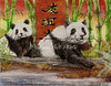 The two panda bears, relax and enjoy each others company by a stream. The symbols in the back mean friendship.