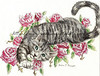 A gray tabby stretches with a paw reaching toward you. Watch as the cat lays between roses with striking blue eyes.