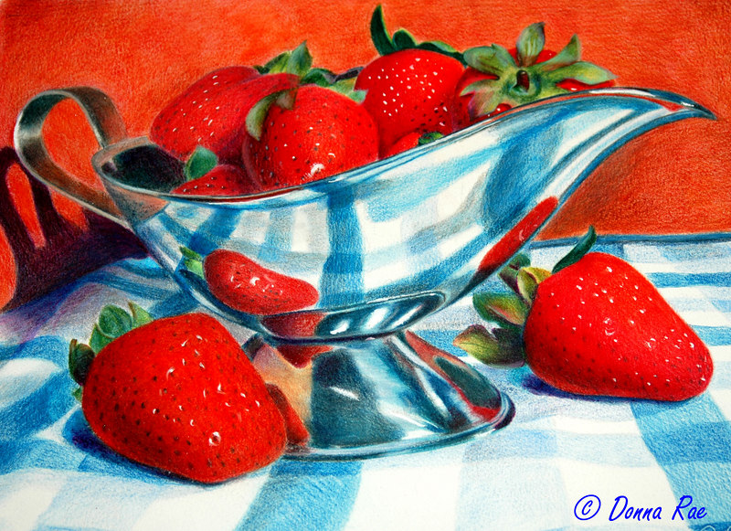 "11 x 14 Colored Pencil ""Strawberry Delight"""