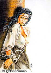 "Girl (1995) <br /> <br /> This is a part of the painting ""Conan and the Spidergod"" by Luis Royo. In this picture I have used also oils to paint the white tresses in her hair."