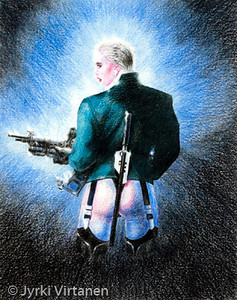 "Gun girl (1995) <br /> <br /> The original work is ""Penthouse"" by Luis Royo."