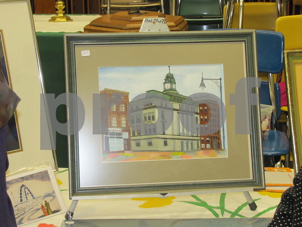 Painting of a scene of downtown Fort Dodge by Svana Lamb.