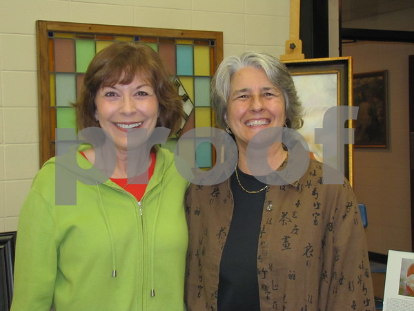 Sheri Schill and Linda Nemitz enjoyed browsing the morning art show/sale.