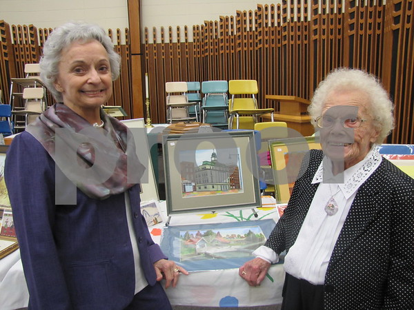 Jane Zenor and Marian Jensen, the organizers of the annual Community Artist Sale at St. Olaf Lutheran Church in Fort Dodge.