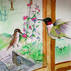 Red-throated Hummingbirds in the kitchen