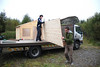 daire and ?? from Glenfarne Wood Products get down to the business of assembling the gallery
