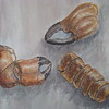 Lobster shells - watercolour pencils and soluble pastels