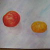 Nectarine and satsuma - Coloured pencils and neocolour crayons