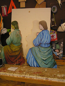 manger painting, shepherd 2, old and new, feb 2, 2007