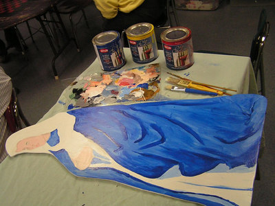 1painting  the Virgin, fast-drying acrylic paints shown,  feb 15, 2007a