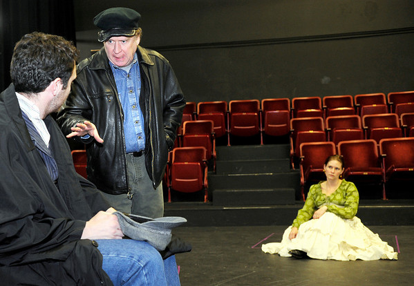 James O'Hagan-Murphy, of Denver, left, rehearses a scene with Chris Kendall, of Denver, and Crystal Verdon Eisele, of Denver, on Saturday, Feb. 5, during a rehearsal for Crime and Punishment at The Dairy Center For the Arts in Boulder. <br /> Jeremy Papasso/ Camera