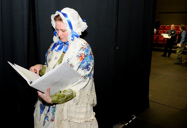 Crystal Verdon Eisele, of Denver, looks at the script in between scenes on Saturday, Feb. 5, during a rehearsal for Crime and Punishment at The Dairy Center For the Arts in Boulder. <br /> Jeremy Papasso/ Camera