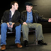 James O'Hagan-Murphy, of Denver, left, rehearses a scene with Chris Kendall, of Denver, on Saturday, Feb. 5, during a rehearsal for Crime and Punishment at The Dairy Center For the Arts in Boulder. <br /> Jeremy Papasso/ Camera