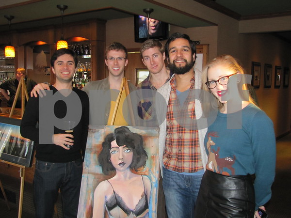 Actors from the dinner theater were attending the ICCC's Art Expose' at Willow Ridge Restaurant. They are Andi Dema, Kevin Kelleher, Sean Coughlin, Deven Kolluri, and Shayna Vercillo.