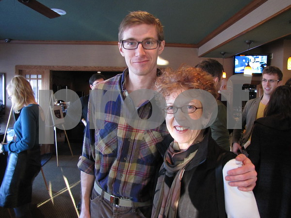 """Sean Coughlin and Pam Sanders visited at the Art Expose' at Willow Ridge Restaurant.  Coughlin is one of the actors performing in the dinner theater """"Starship Inner Prize"""" at the restaurant this week."""