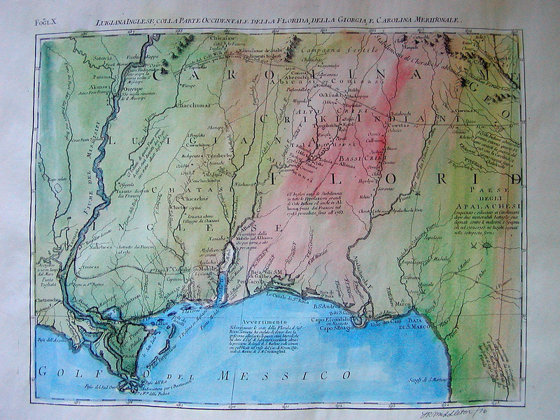 """Gulfo del Messico  18x14""""  $160<br /> We have two beautiful originals of this very early maps. Several trails identified. Pensacola, Florida. Explore at your leisure!"""