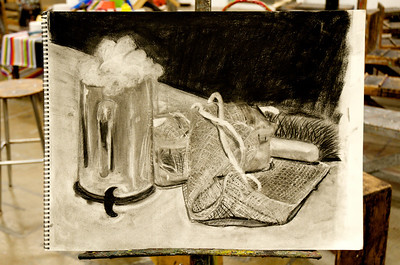Texture Still Life-  Charcoal on White Strathmore Paper