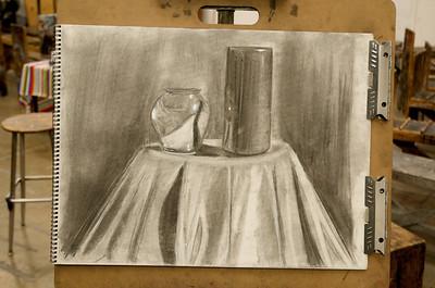 Chrome Pot - Black Candle - Vine Charcoal on Strathmore Paper