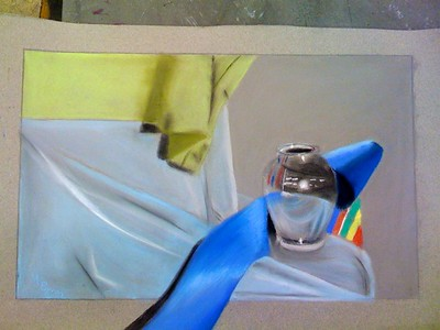 Nupastel on Grey Paper-  Chrome Vase - sheets and a blue ribbon coming out of the composition.