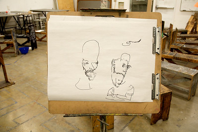 Jacob Riddle - BLIND Contour Line Drawings  - Sharpie on Newsprint