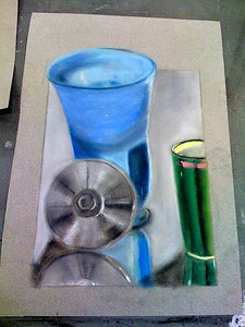 Blue Glass Vase, Metal Lid and Green Ceramic Cup - Nupastel on Grey paper