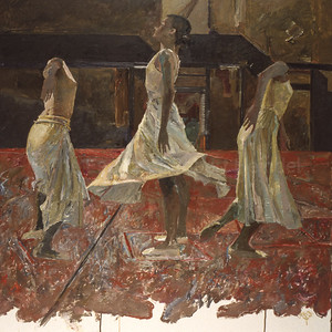 Three White Skirts on a Red Floor