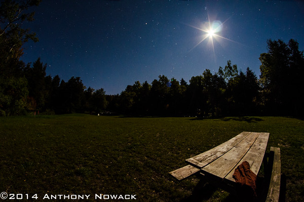 Six point flare looks nice. Pair of childrens pants someone left on the picnic table. Exposure 20 sec. at F5.6, ISO 1250. Rokinon 8mm Fisheye.
