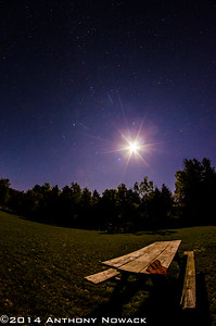 Six point flare looks nice. Pair of childrens pants someone left on the picnic table. Tweaked the color balance to make the sky a little more purple. Exposure 20 sec. at F5.6, ISO 1250. Rokinon 8mm Fisheye.