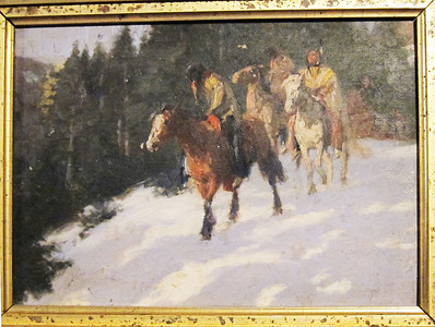 Scouting party in Snow.  Oil on board.  11 x 15.