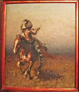 Pursued Warrior.  Oil on board.  18 x 16.